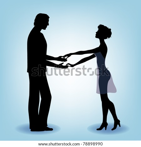 Vector silhouette of the young beautiful couple - stock vector