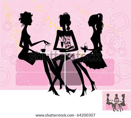Vector. Silhouette of three girls. - stock vector