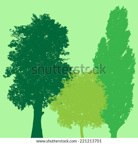 Vector silhouette of tree on green background.