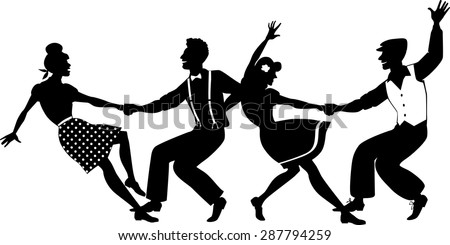 Vector silhouette of two young couple dressed in 1940s fashion dancing lindy hop or swing in a formation, no white objects, isolated on white, no transparencies, EPS 8 - stock vector