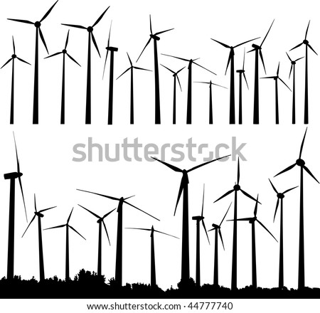 Vector silhouette of wind generators or wind turbines - stock vector
