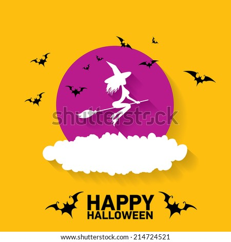 vector silhouette of Witch flying on witch broom. happy halloween background - stock vector
