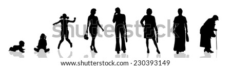 Vector silhouette of woman as generation progresses. - stock vector