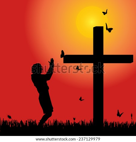 Vector silhouette of woman at the cross at sunset.