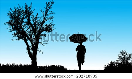 Vector silhouette of woman in nature along the beautiful days. - stock vector