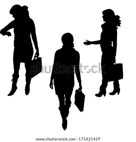 Vector silhouette of woman on a white background.