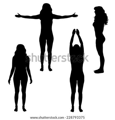 Vector silhouette of woman who practicing on a white background. - stock vector