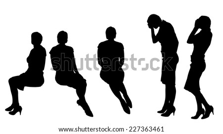 Vector silhouette of woman who sits on white background. - stock vector