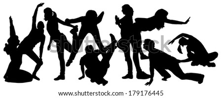 Vector silhouette of  women who exercise on a white background.