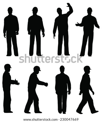 Vector silhouette of worker man in helmet - stock vector