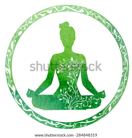 Vector silhouette of yoga woman in circle frame with bright green watercolor texture and floral ornament.  - stock vector