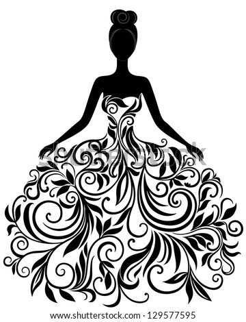 Vector silhouette of young woman in elegant wedding dress - stock vector