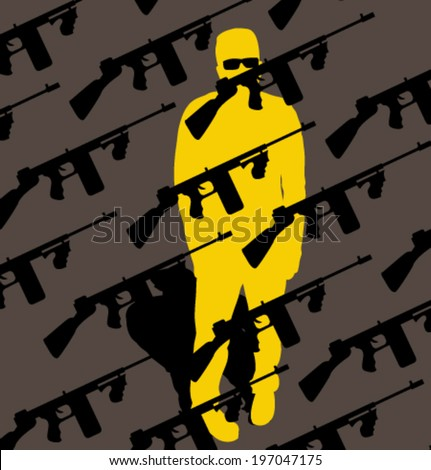 Vector silhouette people with pattern. Template for design. Use for flayers, package, posters or card. Gun background. - stock vector