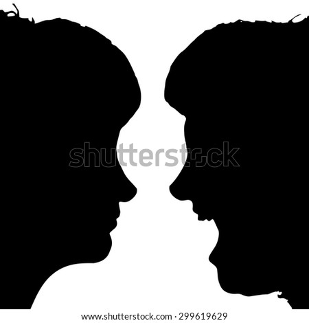 Vector silhouette profile of a woman's face on a white background.