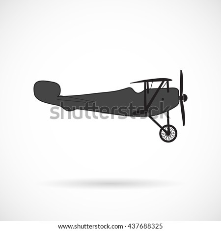 Vector silhouette retro plane times of World War I over white.