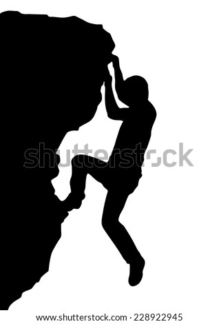 Vector silhouette rock climber, successful concept - stock vector