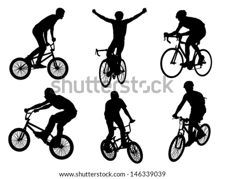 Vector silhouette shapes bicyclist collection