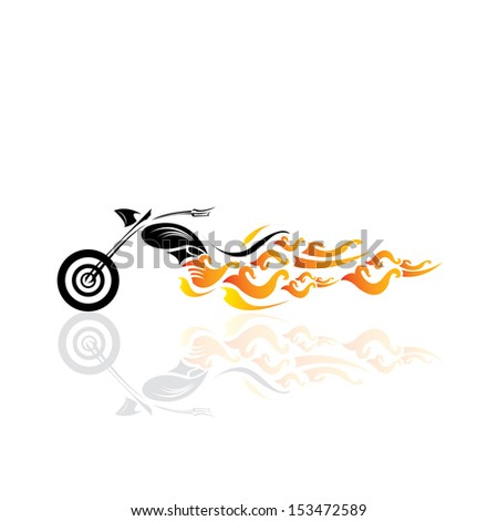 vector Silhouette with fire wings - stock vector