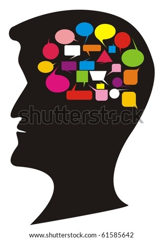 VECTOR - Silhouette With Thought Balloons - stock vector