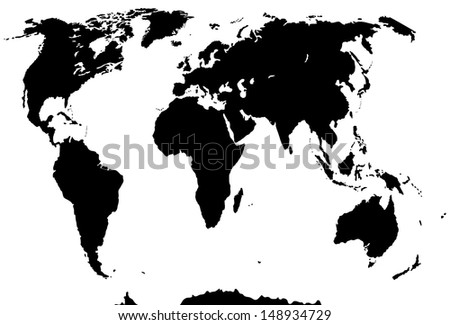 Vector silhouette. World map isolated on white background. - stock vector