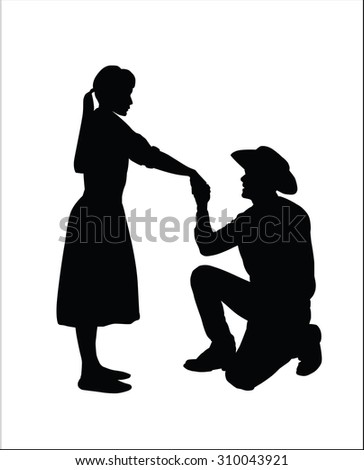 Vector Silhouette  young couple in love. - stock vector