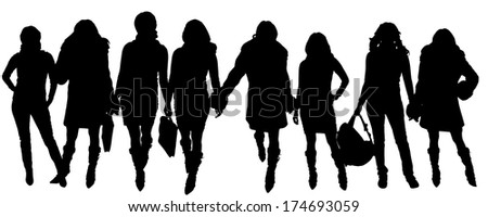 Vector silhouettes a women who meets a merchant.
