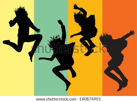 Vector silhouettes af happy young girls jumping into the air on colorful background - stock vector