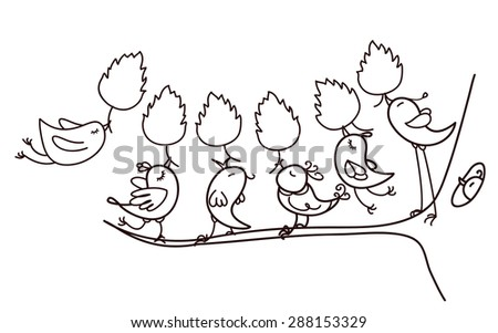 Vector silhouettes birds holding leaves for coloring. - stock vector