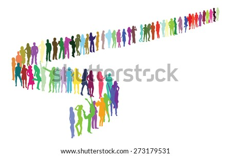 Vector silhouettes forming a specific shape - stock vector