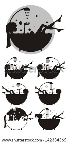 Vector silhouettes: girls in the bath. - stock vector