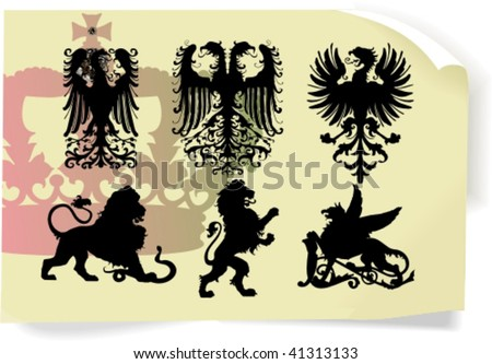 Vector silhouettes, heraldic 1, vector illustration