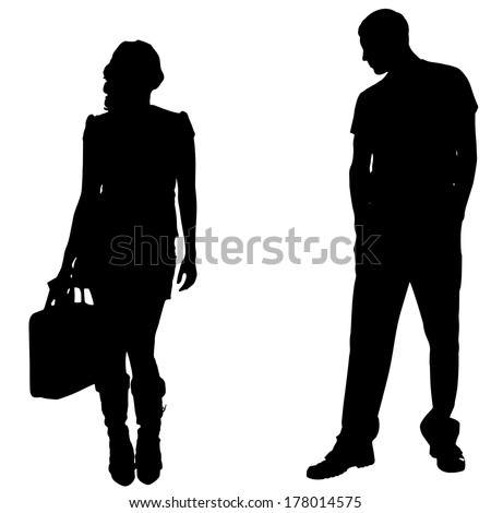 Vector silhouettes man and women on white background