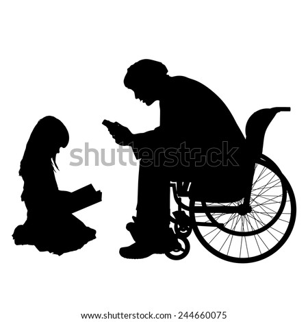 Vector silhouettes man who is in a wheelchair with a daughter. - stock vector