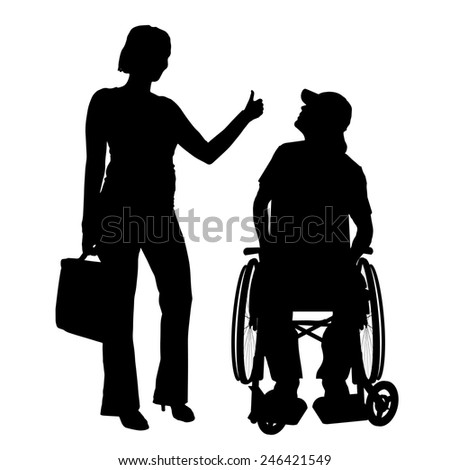 Vector silhouettes man who is in a wheelchair with a girl. - stock vector