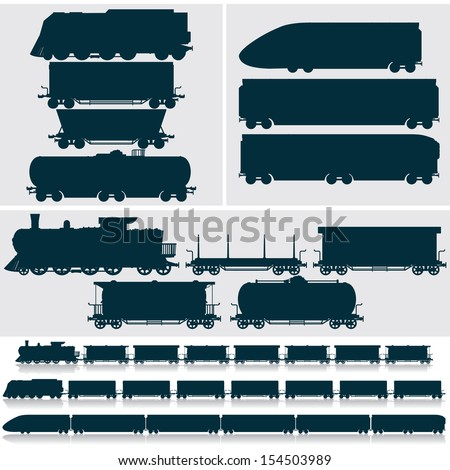 Vector Silhouettes. Modern, Obsolete and Vintage Railroad Locomotives and Rail Cars, Cargo and Passenger Wagons. Train Collection - stock vector