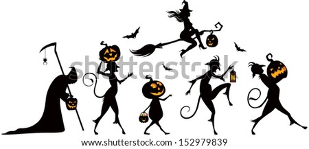 Vector silhouettes of a parade on Halloween/ Halloween party/Vector silhouettes on a white background on a theme of Halloween - stock vector