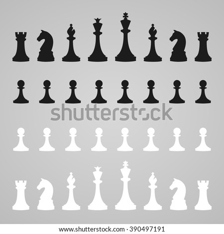 Vector silhouettes of a set of standard chess pieces