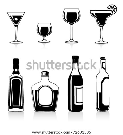 Vector silhouettes of bottles and glasses - stock vector
