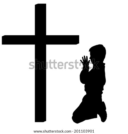 Vector silhouettes of boy at the Cross on white background. - stock vector