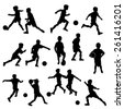vector silhouettes of boys playing soccer or football - stock vector