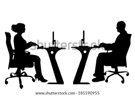Vector silhouettes of business people on a white background. - stock vector