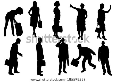 Vector silhouettes of business people on a white background.