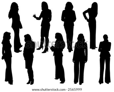 Vector silhouettes of business women - stock vector