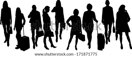 vector Silhouettes of businesspeople on a white background