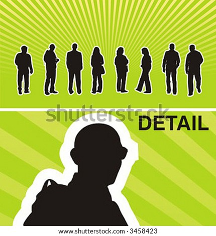 Vector silhouettes of casual young people. - stock vector