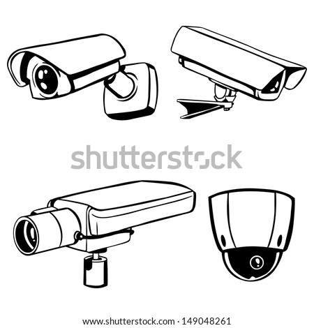 vector silhouettes of CCTV cameras - stock vector