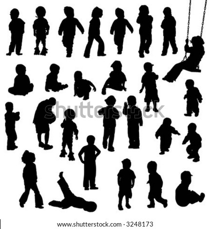 vector silhouettes of children