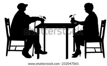 Vector silhouettes of couple sitting at the table. - stock vector