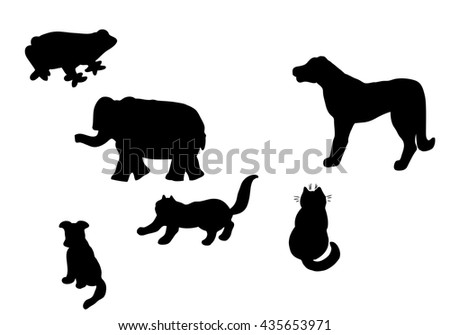 Vector silhouettes of different cartoon animals