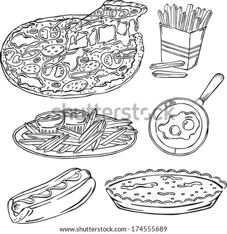 vector silhouettes of different food  - stock vector